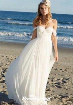 Simple Summer Flowy Casual Bride Dresses for Beach Wedding BWD090