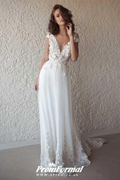 White V Neck Boho Flowy 3D Lace Appliques Summer Beach Wedding Dress BWD092