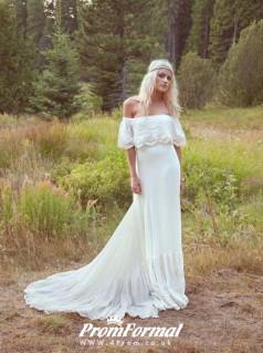 A Line Boho Off Shoulder Bohemian Wedding Dress for Nature Wedding BWD094