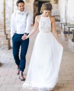 A line Lace Boho Halter Beach Summer Bohemian Wedding Dress BWD097