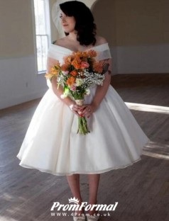 Vintage Breathtakin 1950s Vintage Tea Length Short Wedding Dress BWD099