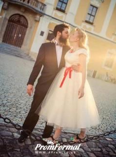Simple Country Wedding Dress, 50s Style Tea Length Wedding Dress BWD101