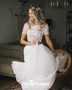 Simple Short Sleeve Beach Flowy Short Sleeve Lace Crop Top 2 Piece Wedding Dress BWD105