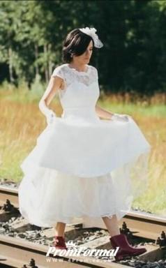 A Line Vintage 50s Rockabilly Lace Wedding Dresses Tea Length Older Brides BWD113