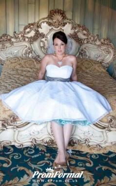 A Line Simple Plus Size Sweerheart Strapless Vintage Short Wedding Dress BWD115