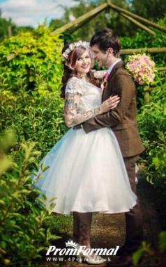 Short Sleeve Vintage Country Plus Size Tea Length 50s Style Wedding Dress Edinburgh BWD127