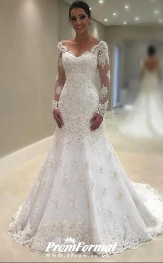 V neck Lace Mermaid Wedding Dress Long Sleeves for Civil Wedding BWD131