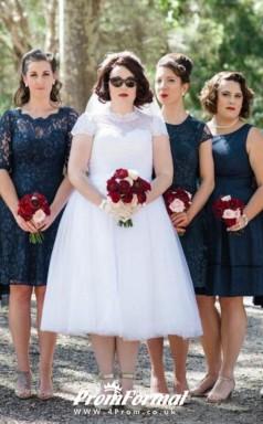 Plus Size Fuller Figure High Neck Tea Length 1950s Style Lace Wedding Dress BWD145