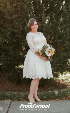 Plus Size Knee Length 3/4 Sleeve Lace Rockabilly Country Style Wedding Dress BWD153