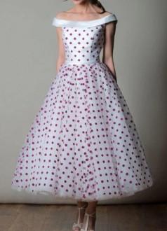 Tea Length Red Polka Dots Vintage Pin Up Brautkleid Rockabilly Wedding Dress BWD165