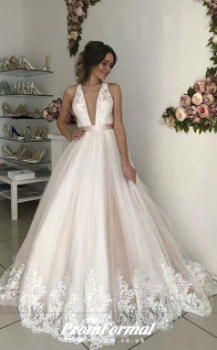 Ball Gown Plunge Deep V neck Tulle Pink Wedding Dress Lace Overlay BWD172