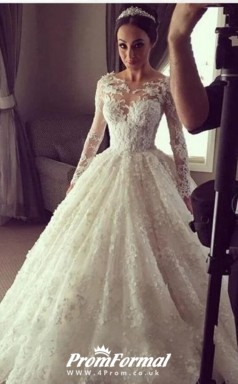 Ball Gown Luxury High End Long Sleeve Lace Cinderella Wedding Dress BWD174