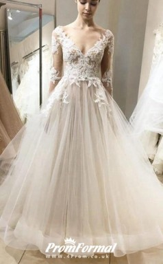 Ball Gown Long Sleeve Lace Top Tulle Wedding Dress with Long Sleeves BWD187