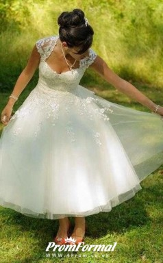 Rustic Cap Sleeve Vintage A-line 50s Lace Tulle Tea Length Wedding Dress Outdoor BWD191