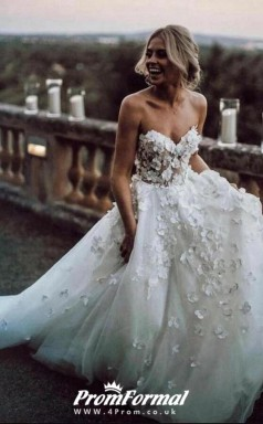 Sweetheart 3D Appliques Ball Gown Flower Bridal Country Wedding Dress BWD193