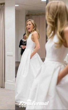 Simple White Corss Back Modest Plain Wedding Dress with Pockets BWD196