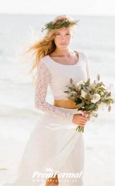 Flowy Beach Lace Long Sleeve Two Piece Wedding Dress BWD209