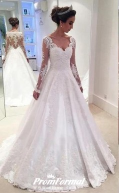 A Line V Neck Lace Long Sleeve Wedding Dress Petite Brides BWD217