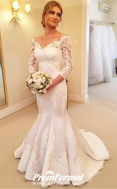 Mermaid V Neck Long Sleeves Flow Lace Wedding Dress  BWD218