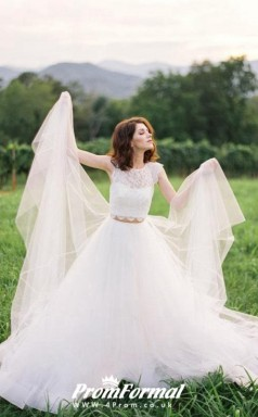 Lace Cap Sleeves Two Piece Wedding Dress Outdoor Weddings BWD222