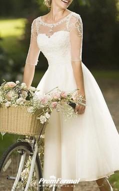 A-Line Knee Length Lace Tulle Half Sleeve Vintage 1950s Wedding Dress BWD228