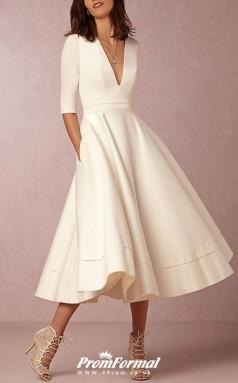 V Neck Tea Length Satin Half Sleeve Casual Vintage Little White Dress 1950s Wedding Dress BWD229