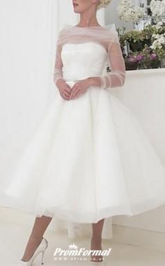 Tea Length Long Sleeve Vintage Little White Dress 1950s Wedding Dress BWD231