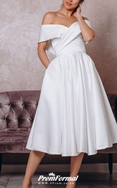 Off Shoulder Tea Length Satin Sleeveless Vintage Little White Dress 1950s Wedding Dress BWD244