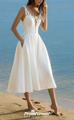 V Neck Tea Length Lace Beach Summer Little White Dress BWD245