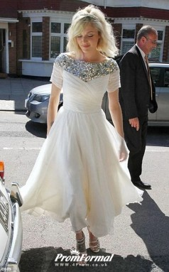 Tea Length 50s Sequined Short Sleeve Country Wedding Dress Old Woman BWD246
