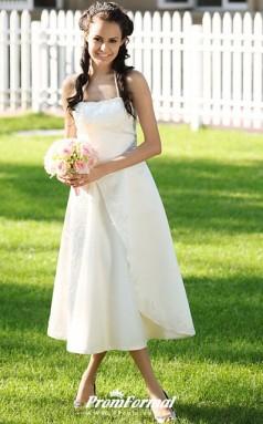 Country Halter Neck Spaghetti Strap Tea Length Satin Wedding Dress BWD248