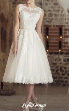 Rockabilly Tea Length Lace Vintage 50s Wedding Dress BWD249