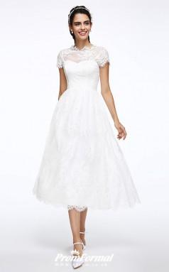 A Line Tea Length Lace Cap Sleeve Vintage Rockabilly Wedding Dress BWD250