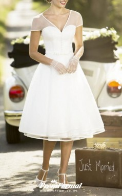 Simple V Neck Tea Length Chiffon Short Sleeve Vintage 60s Wedding Dress BWD255