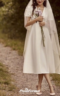 Simple Summer V Neck Tea Length Church Little White Dress 1950s with Sashes BWD256