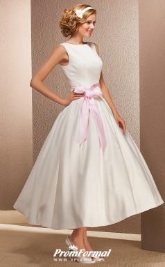 Simple White Tea Length Satin Casual Vintage 50s Wedding Dress BWD257