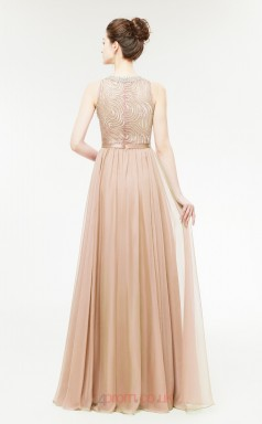 A-line Champange Lace 30D Chiffon Bateau Neck Long Prom Dresses XH-C0002C