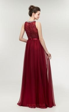 A-line Sky Blue Lace 30D Chiffon Bateau Neck Long Prom Dresses XH-C0003S