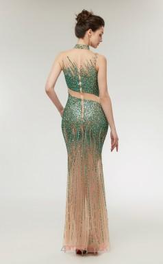 Mermaid Green Tulle High Neck Long Prom Dresses XH-C0008