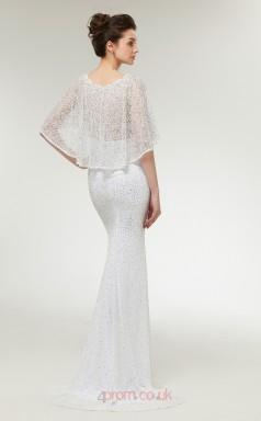 Mermaid White Lace Scoop Short Sleeve Long Prom Dresses XH-C0010