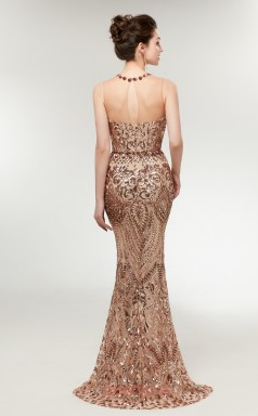 Mermaid Bronze Sequined Illusion Long Prom Dresses XH-C0012