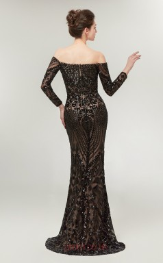 Mermaid Black Sequined Off The Shoulder Long Prom Dresses XH-C0015