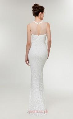 Mermaid White Sequined Illusion Long Prom Dresses XH-C0017