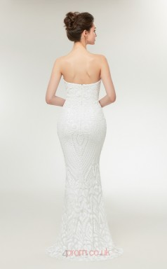 Mermaid White Sequined Sweetheart Neck Long Prom Dresses XH-C0018