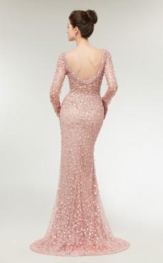 44c1ee590d Mermaid Pink Lace V-neck Long Sleeve Long Prom Dresses XH-C0021