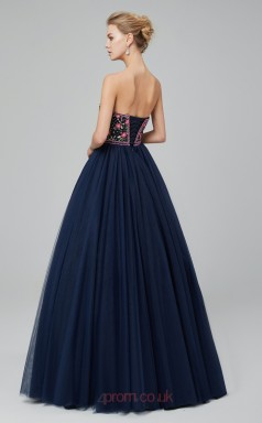 Ball Gown Navy Blue Embroidery Tulle Sweetheart Neck Long Prom Dresses XH-C0025N