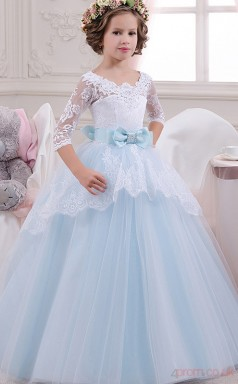 Princess Half Sleeve Kids Prom Dress for Girls With Bows CH0127