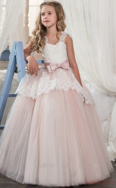 Princess Sleeveless Kids Prom Dress for Girls With Bows CH0129