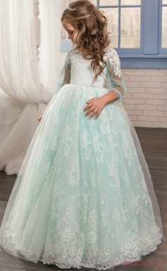 Princess Long Sleeve Kids Prom Dress for Girls With Lace CH0138