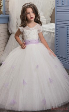Ball Gown Short Sleeve Kids Prom Dress for Girls With Lace CH0139